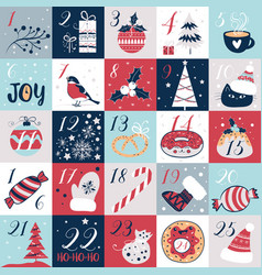 Advent calendar with christmas elements holidays vector