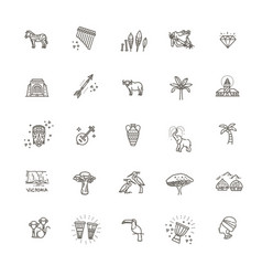 africa jungle ethnic culture travel icons set vector image