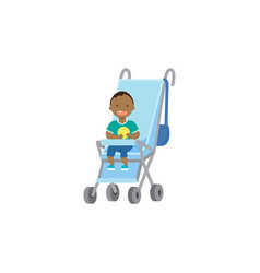 African baby boy with toy blue stroller full vector