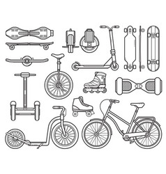 alternative city transport and gadgets vector image