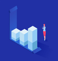 analyzing statistics isometric vector image