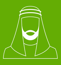 arabic man in traditional muslim hat icon green vector image