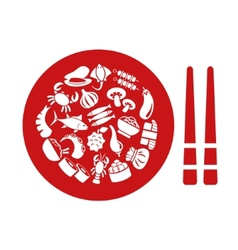 Asian food icons in plate vector