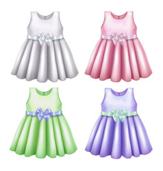 Baby dress mockup set in realistic style vector