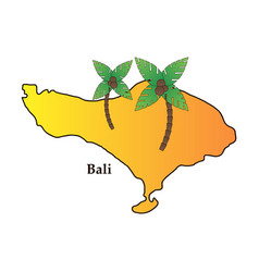 Bali indonesia map with travel and attraction vector