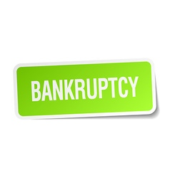 Bankruptcy green square sticker on white vector