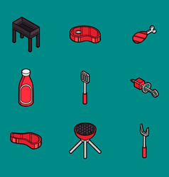 bbq color outline isometric icons vector image