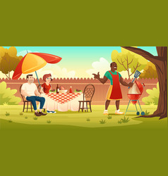 bbq party picnic on backyard with cooking grill vector image