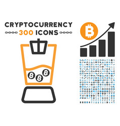 Bitcoin blender flat icon with vector