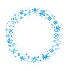 Blue frame with winter snowflakes vector