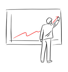 businessman in suit drawing chart of financial vector image