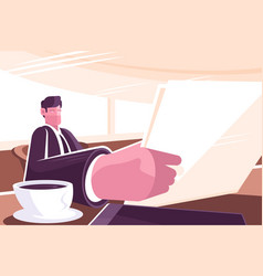 businessman reading news in morning press vector image