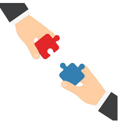 businessmen hands puzzles vector image
