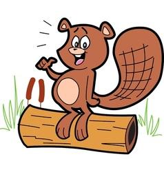 Cartoon Beaver On Log vector image vector image