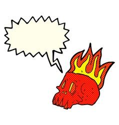 Cartoon flaming skull with speech bubble vector