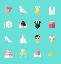 cartoon wedding symbols icons set vector image