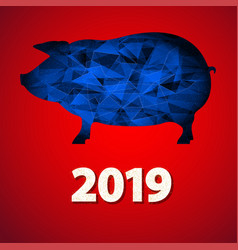 Christmas greeting card with pig and date new vector