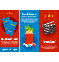 cinema ticket flyer set vector image