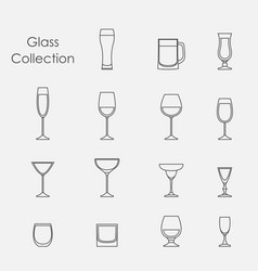 color wine glasses set vector image