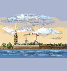 colorful hand drawing st petersburg 6 vector image