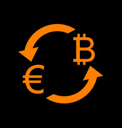 currency exchange sign euro and bitkoin orange vector image