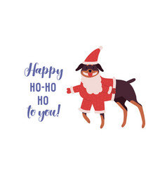 cute dog rottweiler in red santa costume cartoon vector image