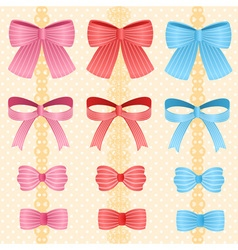 Cute silky or satin striped ribbon or bow for vector
