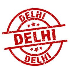 Delhi red round grunge stamp vector