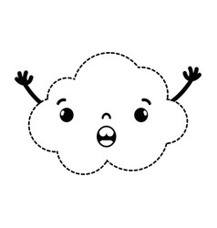 Dotted shape surprised and cute cloud kawaii vector