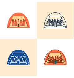 egyptian temple abu simbel icon set in flat vector image