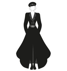 elegant lady dressed in retro military style vector image