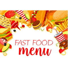Fast food restaurant menu with burger and drink vector