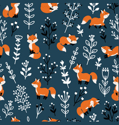 funny foxes seamless pattern vector image