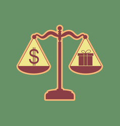 Gift and dollar symbol on scales cordovan vector