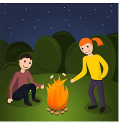 girl boy cook marshmallow concept background vector image