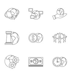 global comunity icon set outline style vector image