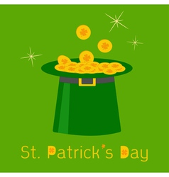 Green leprechaun hat with gold clover lucky coins vector image