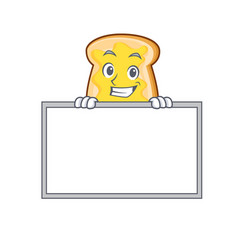 Grinning with board slice bread cartoon character vector