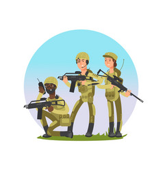 Group soldiers military vector