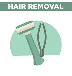 Hair removal promotinal banner with shaver and vector