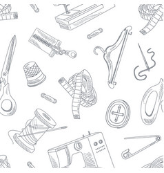 hand drawn sewing accessories seamless pattern vector image
