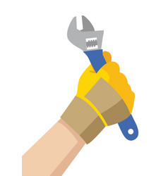 Hand with glove holding a wrench vector
