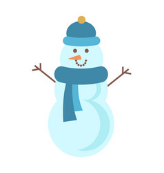 handsome snowman in red hat vector image
