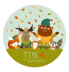 Happy animals meeting autumn vector image