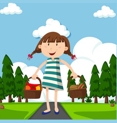 Happy girl with baskets full food in park vector