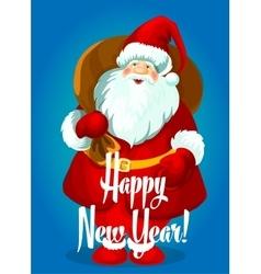 Happy new year card santa with gifts bag vector