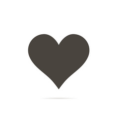 heart icon in flat style with shadow white vector image