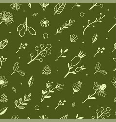 herbal and floral doodle seamless pattern 4 vector image