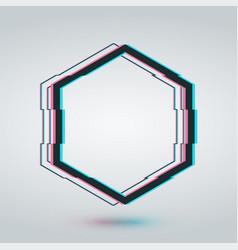 Hexagon glitch frame cadre template vector