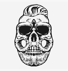 hipster skull with beard and mustache vector image